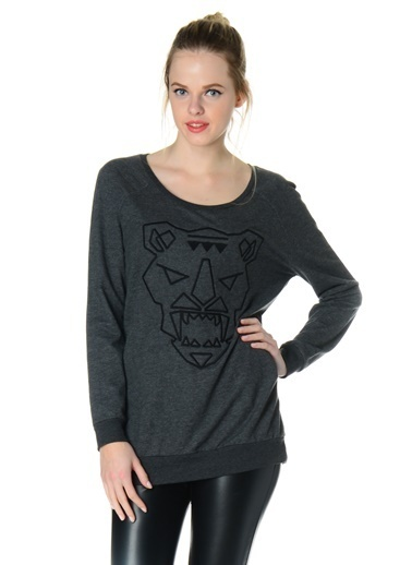 Vero Moda Vero Moda 10105765 TIGRA Kaplan Çizgili Kadın Sweatshirt Siyah